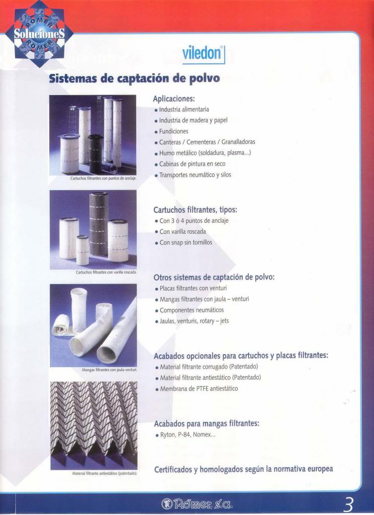 Viledon dust filters (Spanish)