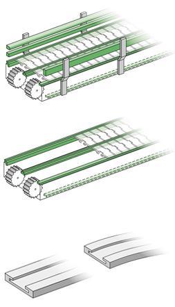 Guias para deslizamiento de productos en cintas transportadoras